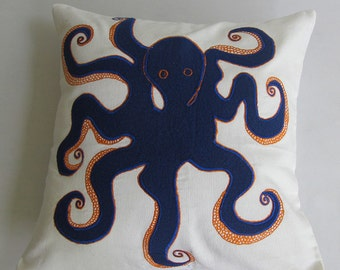 off white and navy octopus pillow cover. sea theme pillow.  navy  Optupus embroidery on off white. 18 inch custom made