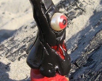 Black Lacquer Kasa Obake - Asian Mythology Miniature - Japanese Black Lacquer Figure - Umbrella Ghost