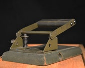 Vintage Army Green Wooden Hole Punch
