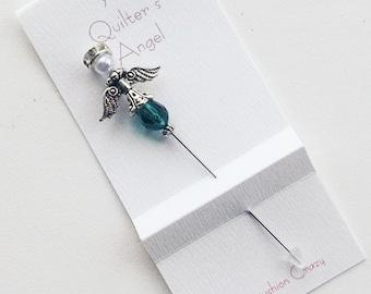 Dark Green Angel Pin - Quilter's Angel - Decorative Sewing Pin - Scrapbooking Pin - Cardmaking Pin