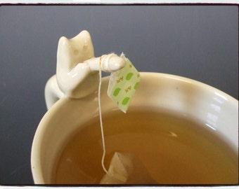 Reserved List-Big Mug in White with Teabag Holder Fishing Cat by misunrie