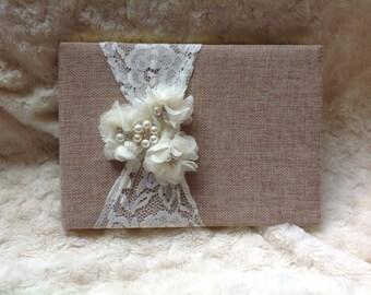 Burlap Wedding Guest book , custom guest book / You PICK COLoRS /  name book ,  rustic guest book