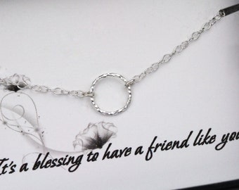 Eternity Necklace - Tiny Circle Sterling Silver Necklace -  Karma Necklace - Friendship Necklace - Necklace with a Message Card