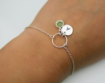 Birthstone and Initial Bracelet in Sterling Silver - Adjustable Personalized Birthstone Bracelet