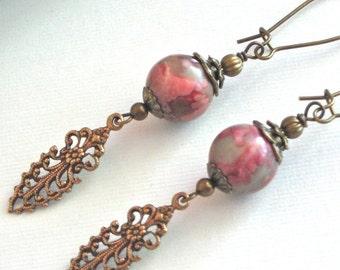 Pink Earrings - Nevada Jasper, Brass Filigree Earrings, Long Earrings