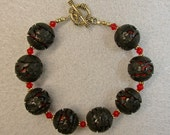 Vintage Chinese 1970s Black Cinnabar Bead Bracelet, Vintage Red Crystal, Gold Clasp