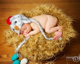 Baby Rooster Hat Newborn 0 3m Fuzzy Chicken Farm Animal Baby Crochet Soft Photo Prop Baby Chick Boy Girl Gift Gender Neutral CUTE