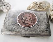 Skull Steampunk Etched Wallet / Cigarette Case in Victorian Filigree - Acid Bath Series