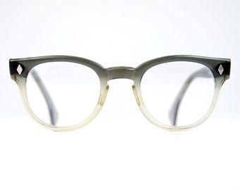Round Horn Rim Eyeglasses Two Tone Gray Fade P3  Unisex Retro Wayfarer Frames USA 48/24