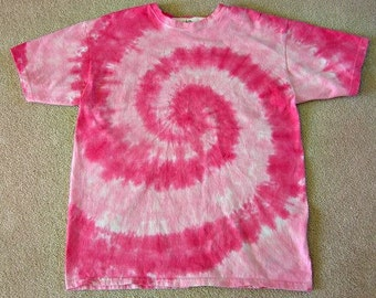 Tie Dye T shirt, Charity Pink, hand dyed, cotton,  hot pink, light pink, breast cancer donation, short sleeve, long sleeve, adult, children
