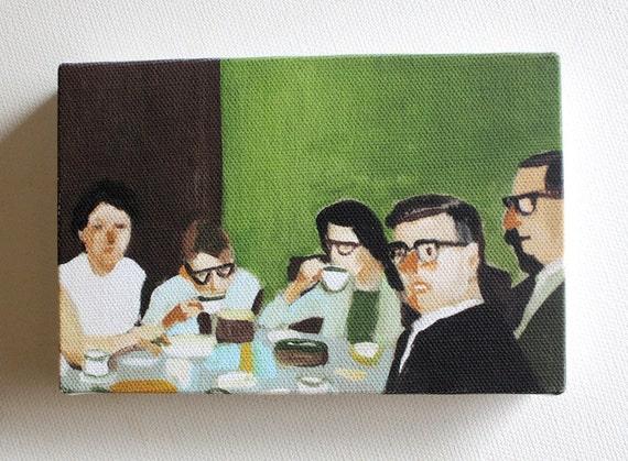 Cup of tea / Tiny canvas print -company -family -tea -dessert -glasses -friendship -meeting -retro- CANVAS ART PRINT