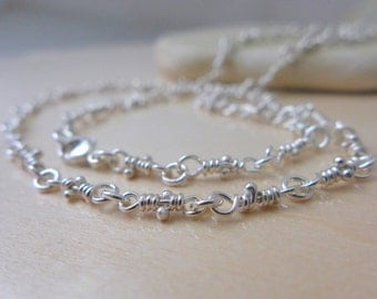 Bitsy Handmade Chain Silver Necklace, Sterling Silver Knots Chain, Rustic Knots, Linked Necklace, Knotted Necklaces Dainty Chains, Aroluna