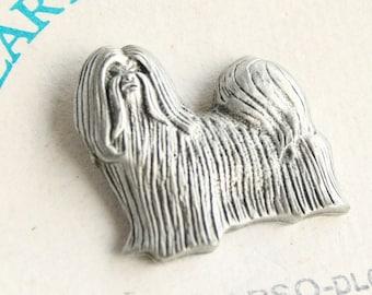 Lhasa Apso Dog Pin Vintage Figural Pewter Tie Tac Pin Brooch