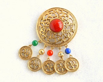Medallion Brooch Dangles Vintage Filigree Colorful Red Blue Cabochons
