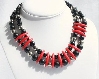 Vintage Red Black Modernist Necklace Choker Necklace Modernist Vintage Chunky Disks Wide Collar
