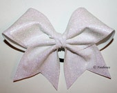 Fabulous White Sparkle Glitter Cheer Bow - by Funbows