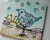Painted Alcohol Ink Tile - O'Happy Day Bird - Coaster or Wall Hanging - 4x4  SRA Riv Art