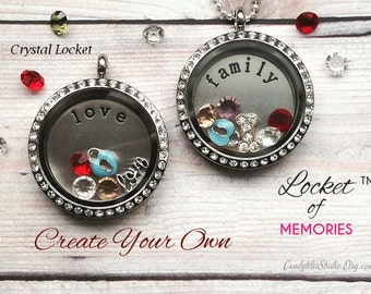 30mm..Floating Glass Locket Necklace...Comes with Stamped Plate, Charm and Birthstones..Living Locket, Memory Locket