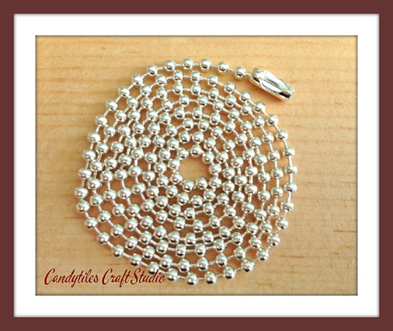 10pc...2.4mm High Quality Silver Ball Chains. Great for pendants, Cabochons, Scrabble and Glass Tiles.
