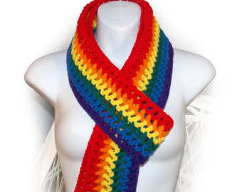 Rainbow Scarf, Long & Skinny Scarf, Gay Pride Rainbow Scarf, Primary Colors Scarf, Scarf with Fringe, Long Crocheted Scarf,Ready to Ship