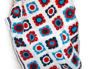 Red Turquoise Afghan, Flower Granny Squares, Crocheted Blanket, Dorm Room Blanket, Granny Squares, Graduation Gift, Crocheted Throw