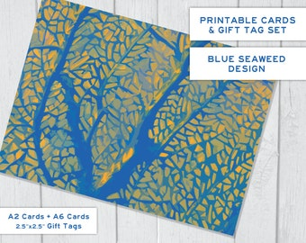 Blue Gold Stylized Seaweed Instant Download Printable Cards \ Tags Set, 2 Sizes of Cards & Gift Tags, Ocean, Sea Weed, Plants, Sea Life