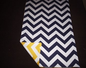 Navy and Yellow Reversible Chevron Table Runner