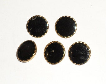 Black and Gold Buttons - Set of 5 Vintage Shank Buttons - Black Buttons - Fancy Buttons - Sewing Supply - Craft Supply Buttons