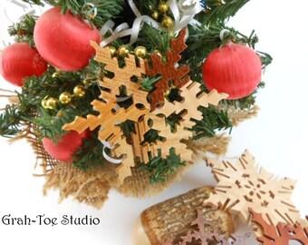 Ornaments Rustic Wooden Snowflakes Decorations Christmas Yule Hanukkah Holidays Winter Garland Ornament