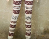 Jiajiadoll-coffee brown colored pattern legging fits Momoko or Blythe or Misaki