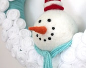 Turquoise Snowman Wreath, Yarn Wreath, Large 14 inch Size, Ready to Ship