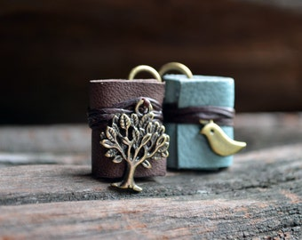 Tree & Bird Miniature book earrings brown and blue color leather
