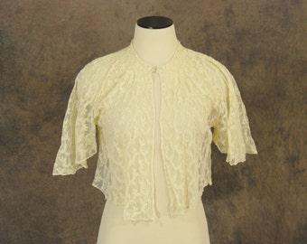 vintage 20s Jacket - 1920s Sheer Cream Lace Blouse - Flutter Sleeve Bolero Jacket Sz XS