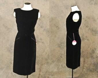 vintage 50s Dress - Black Velvet Cocktail Dress - 1950s Deadstock Wiggle Dress Sz S