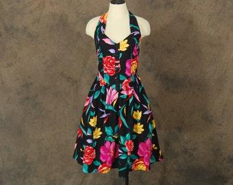 vintage 80s Dress - Black Floral Mini Halter Dress 1980s Backless Babydoll Party Dress Sz S M