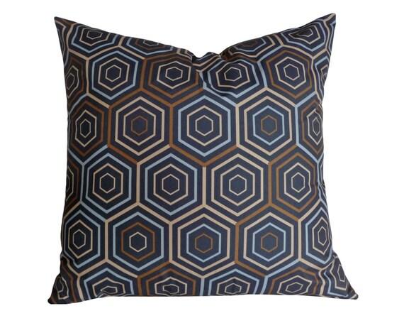 Blue Brown Geometric Pillow Hexagon Cushion Covers Navy