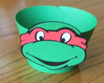 Ninja Turtle Inspired Cupcake Wrappers -- Set of 12