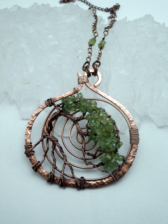 wire wrapped tree of pendant necklace peridot bonsai