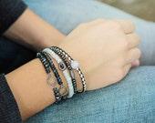 Diamond Pave Sapphire Bracelet Set or Individual, Amethyst Jade Leather Hematite Beadwork Bracelet, Gemstone White Luxury Jewelry, Bohemian