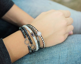 Diamond White Sapphire Stacking Bracelet, Amethyst Pave Beadwork Bracelet, Gemstone Pure White Purple, Luxury Jewelry, Bohemian, Teardrop