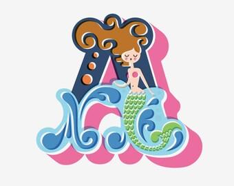"8X10"" mermaid letter ""a"" giclee art print on fine art paper. pink, navy blue, green, brunette."