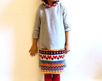 scandi fleece hooded dress - warm winter girls clothing - heather grey/nordic print - 2T to 7 years