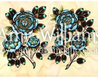 Blue Roses Tattoo Art A4 Print