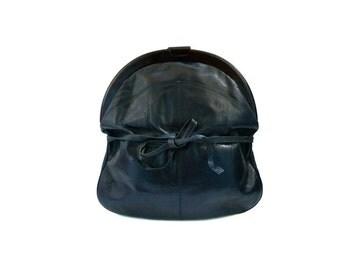 PISTORE French Vintage Dark Blue Leather Maxi Purse / Shoulder Bag