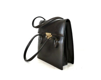 SUSANNE French Vintage 50s Dark Brown Handbag