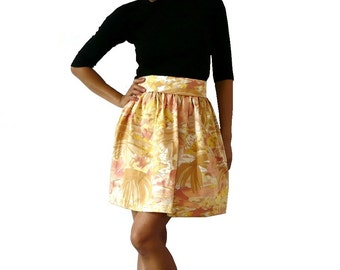Handmade Tropical Print Cotton with Lace Mini Full Skirt  XS / S