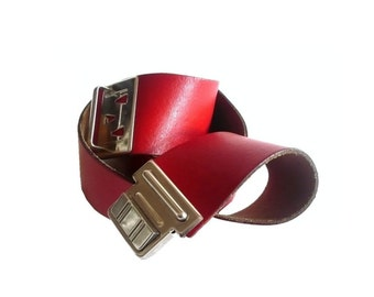 ROUGE French Vintage Red Leather Belt with Old School Buckle