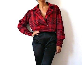 Louis Feraud Vintage Red Houndstooth Silky Double Breasted Blouse
