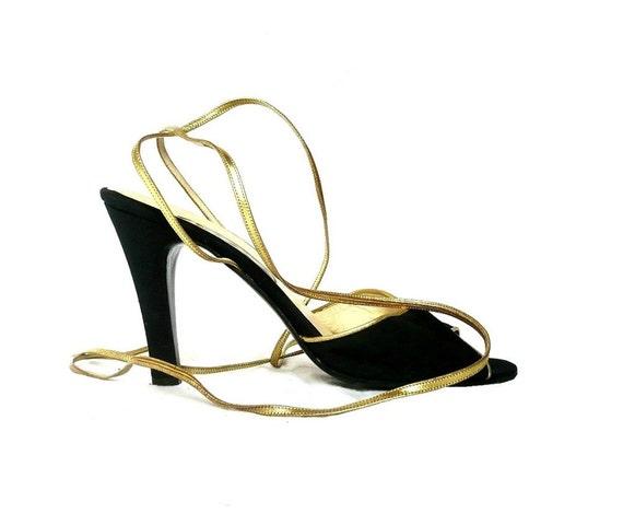 SERGIO ROSSI Italian Peep Toe HIgh Heel with Gold Straps