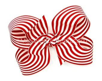 "Red and White Striped Hair Bow, 5 inch Boutique Bow, Red Stripes, 5"" Nautical Bow for Women, Preppy, Candy, Taffy Stripe Baby Toddler Girls"